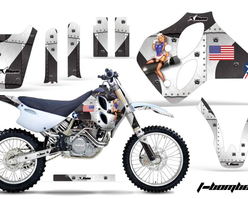 AMR Racing Dirt Bike Graphics Kit Decal Sticker Wrap For KTM SX/XC/EXC/LC4 1993-1997áTBOMBER WHITE