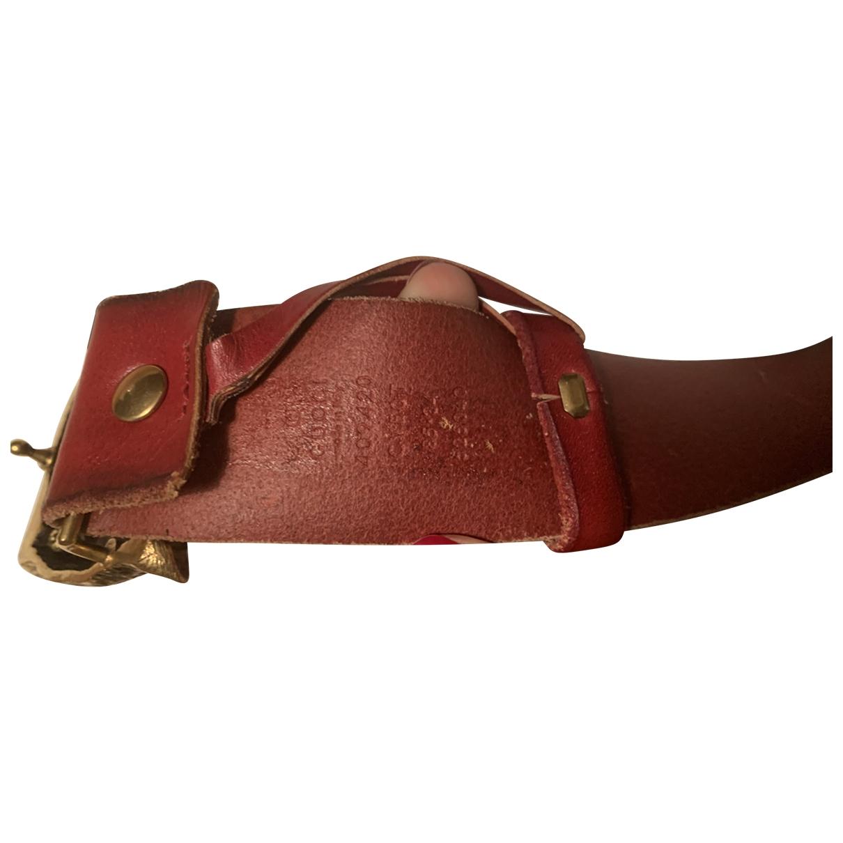 Gucci Feline Buckle Guertel in  Bordeauxrot Leder