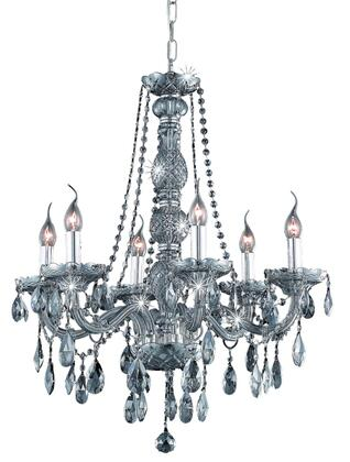 7956D24SS-SS/RC 7956 Verona Collection Hanging Fixture D24in H28in Lt: 6 Silver Shade Finish (Royal Cut Silver Shade