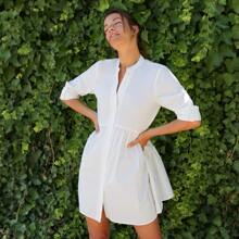 Button Front Roll Up Sleeve Smock Dress