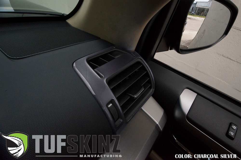 Tufskinz RUN012-CLG-G Passenger/Driver Upper Air Vent Accent Trim Fits 14-up Toyota 4Runner 2 Piece Kit Charcoal Silver Similar to Magnetic Gray
