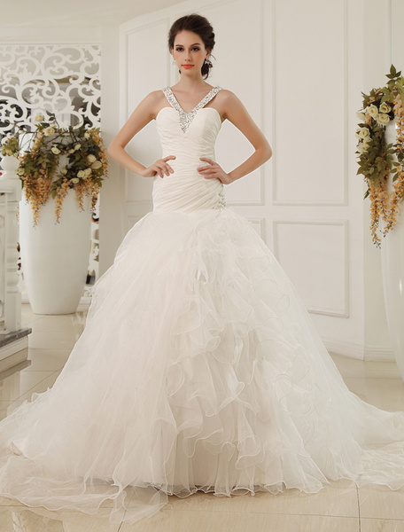 Milanoo Court Train A-line Sweetheart Neck Sequin Chiffon Ivory Wedding Dress