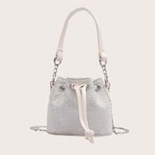 Mini Allover Rhinestone Decor Drawstring Bucket Bag