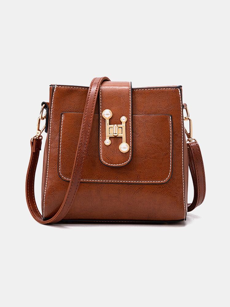Women Hardware Multi-pocket Casual Shoulder Bag Crossbody Bag