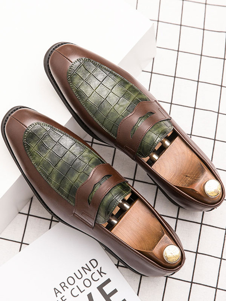 Milanoo Mens Loafer Shoes Slip-On Buckle Snake Print Round Toe PU Leather For Casual