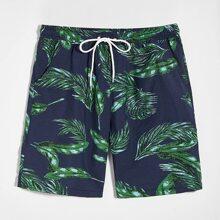 Men Tropical Print Drawstring Shorts