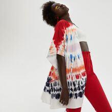 Tie Dye Drawstring Waist Kimono
