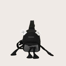 Bolsa bandolera con bolsillo delantero de hombres con diseño de dibujos animados
