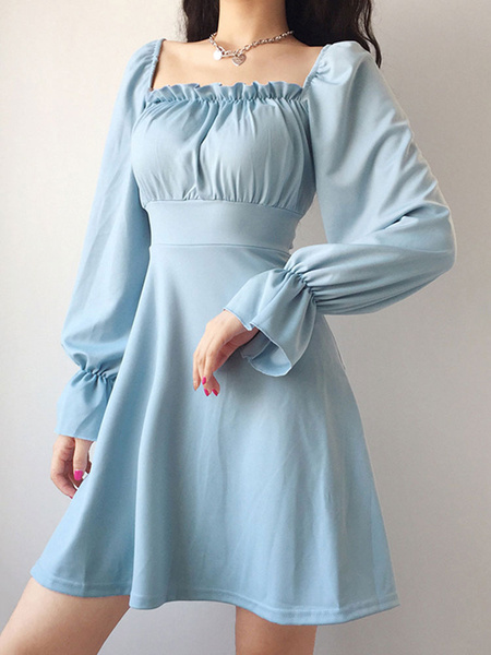Milanoo Skater Dresses Polyester Square Neck Lace Up Light Sky Blue Long Sleeves Flared Dress