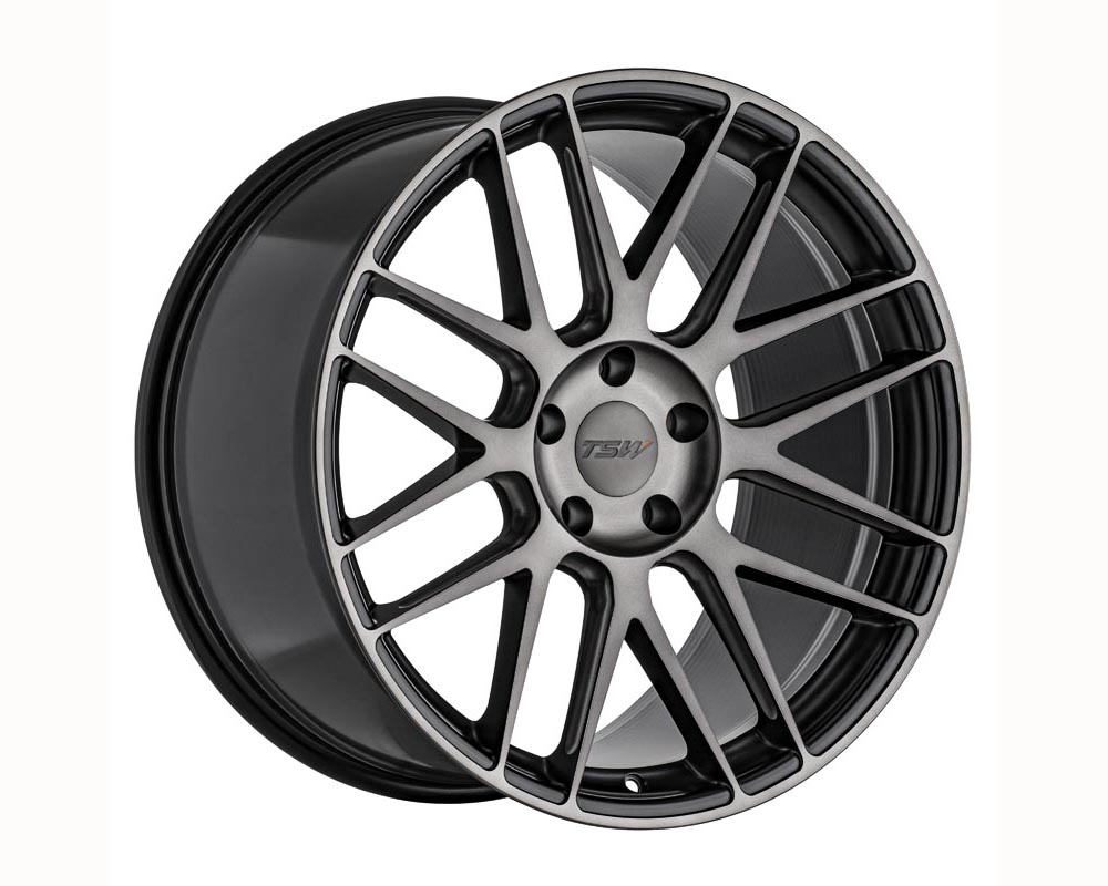 TSW Nord Wheel 20x10.5 5x114.30 32 Semi Gloss Black w/Ball Milling and Machined Dark Tint Face