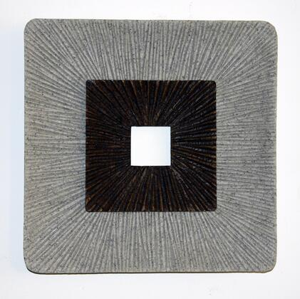 BM205835 Square Shaped Wall Decor with Ribbed Details  Large  Brown and