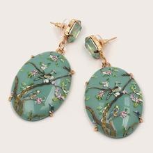 1pair Flower & Bird Decor Geometric Drop Earrings