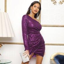 Kleid mit einer Schulter, Wickel Design und Pailletten
