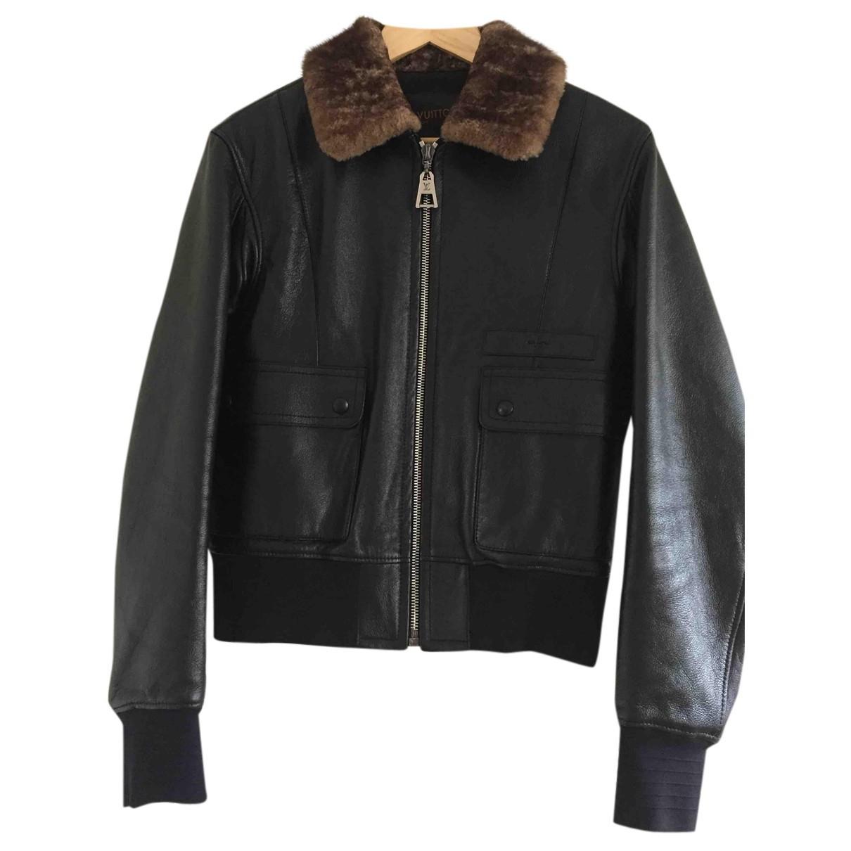 Louis Vuitton - Blouson   pour femme en cuir - noir