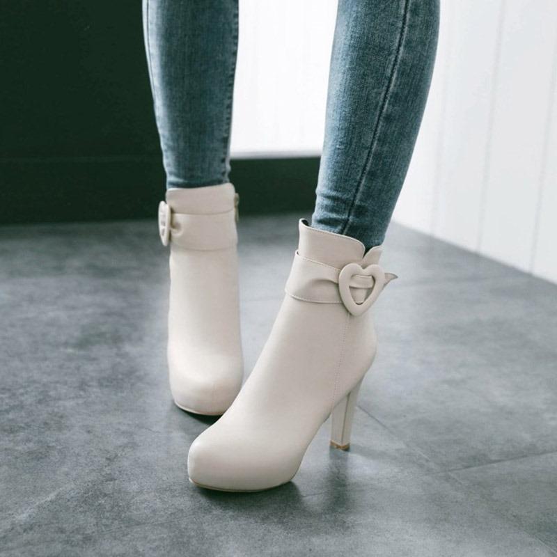 Ericdress Heart-Shaped Buckle Platform High Heel Boots