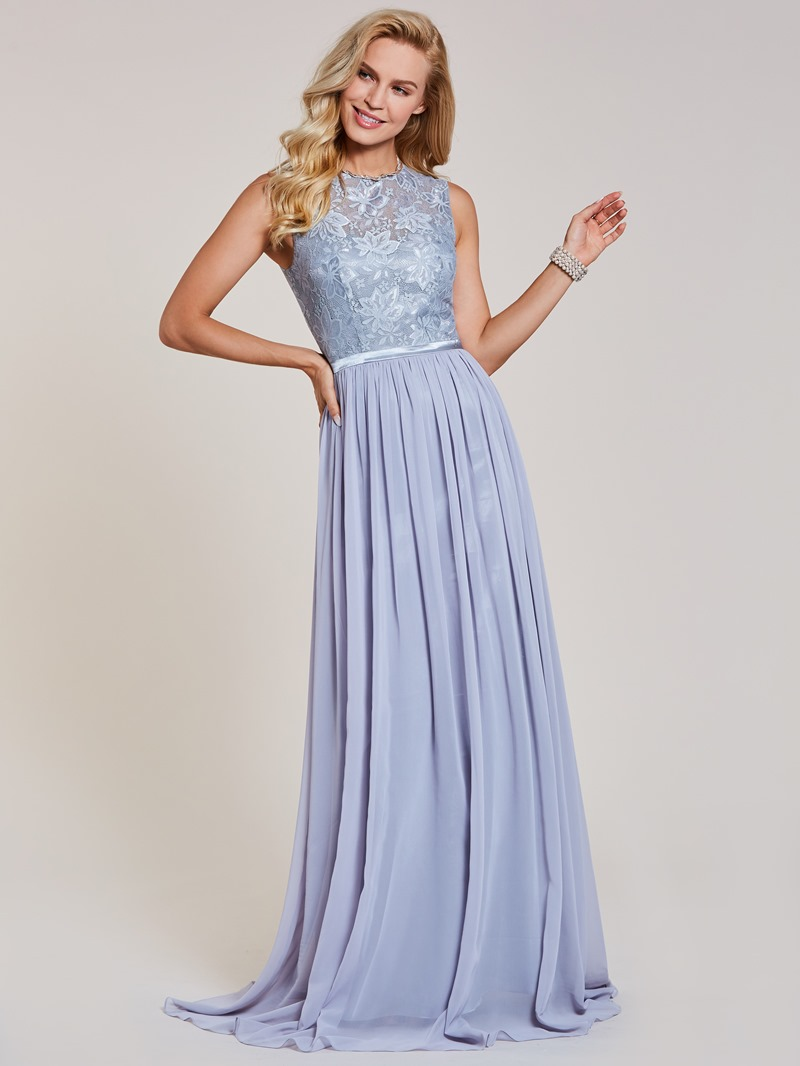 Ericdress A Line Beaded Scoop Neck Lace Evening Dress