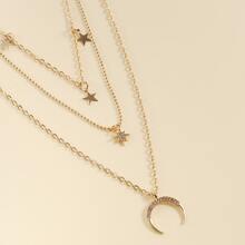 Mehrschichtige Halskette mit Mond Anhaenger