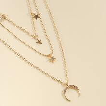 Moon & Rhinestone Star Charm Layered Necklace