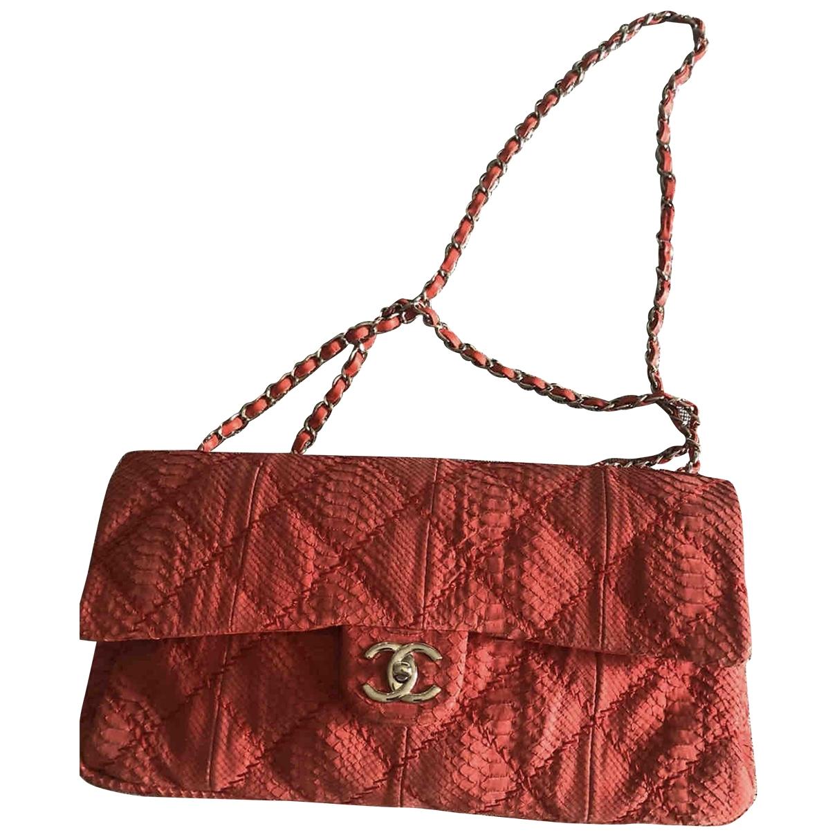 Chanel - Sac a main Timeless/Classique pour femme en python - rouge