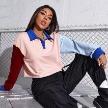 Pullover mit Knopfen, halber Knopfleiste und Farbblock