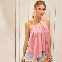 Lace Up Backless Flowy Top