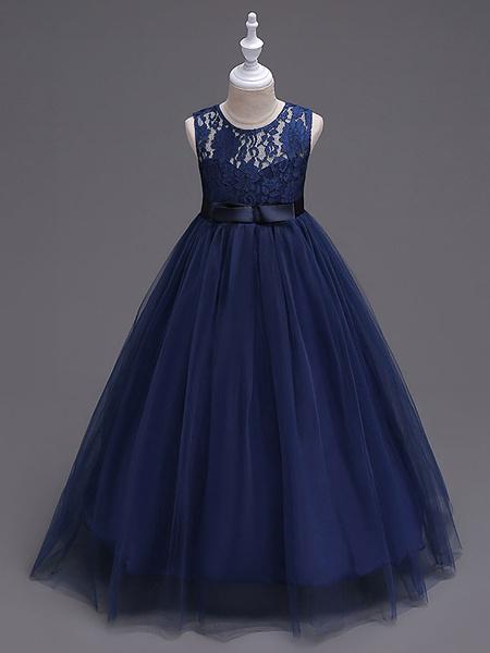 Milanoo Flower Girl Dresses Princess Dark Navy Tutu Dress Sleeveless Lace Tulle Kids Pageant Dresses