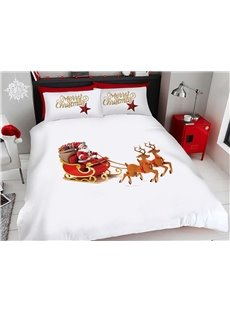 Santa Claus And The Christmas Deer Pulling The Sleigh 3D Printed 4-Piece Polyester Bedding Sets/Duvet Covers