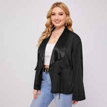 Plus Waterfall Roll Up Sleeve Drawstring Jacket