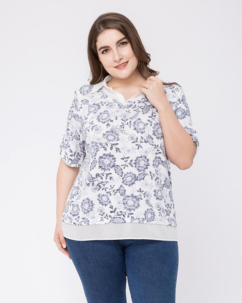 Half Sleeve Loose Model Cotton Standard Length Plus Size T-shirt