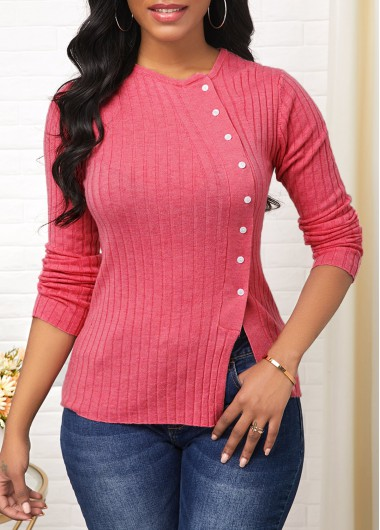 Women'S Pink Side Slit Long Sleeve Button Detail Sweater Solid Color Pullover Casual Jumper By Rosewe - L