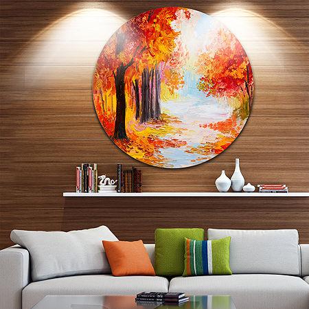 Design Art Orange Forest in Autumn Landscape Circle Metal Wall Art, One Size , Orange