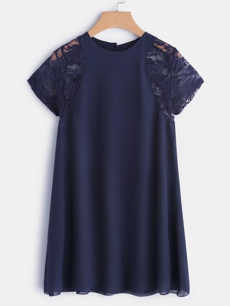 Yoins Navy Lace Insert Round Neck Short Sleeves Chiffon Dress