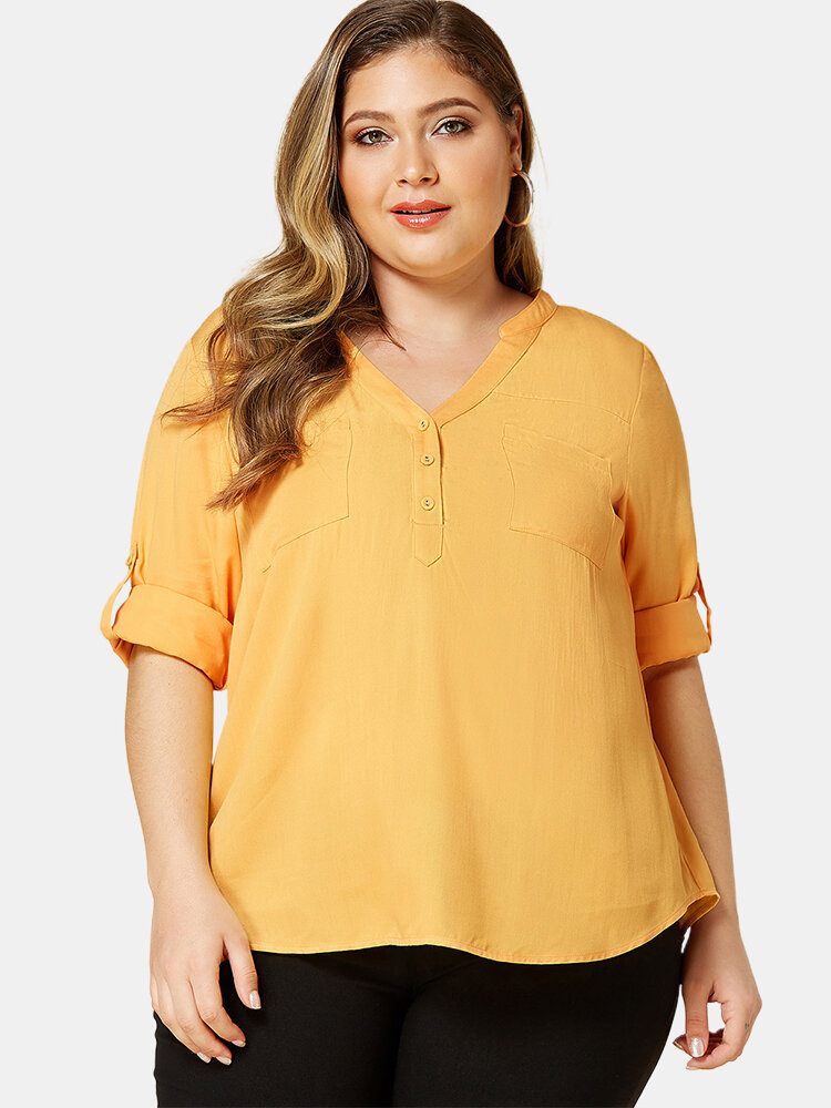 Casual Solid Color V-neck Long Sleeve Plus Size Blouse