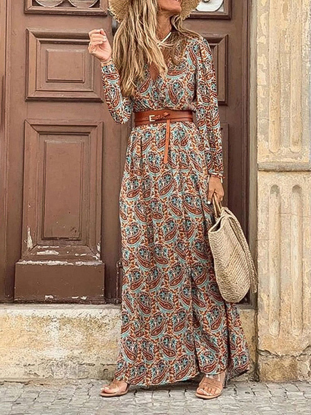Milanoo Maxi Dresses Blue Long Sleeves Floral Print Jewel Neck Lace Up Polyester Long Dress