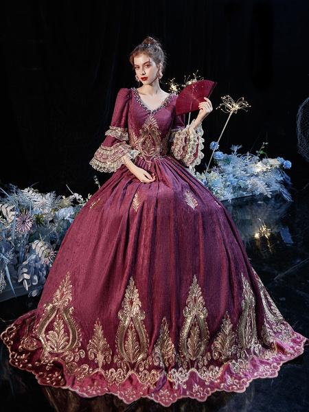 Milanoo Vestido de traje retro victoriano rococo, disfraz de Cosplay de algodon de encaje burdeos, disfraz de Halloween