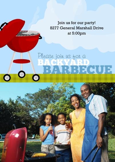 Party Invitations 5x7 Cards, Premium Cardstock 120lb, Card & Stationery -Backyard Grillin'