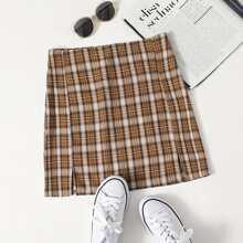 Plaid Split Skirt
