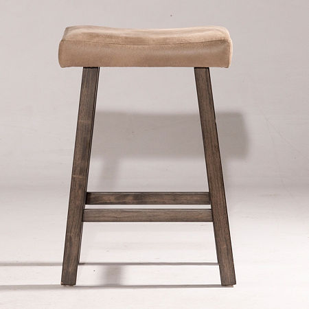 Saddle Non Swivel Backless Counter Stool, One Size , Gray