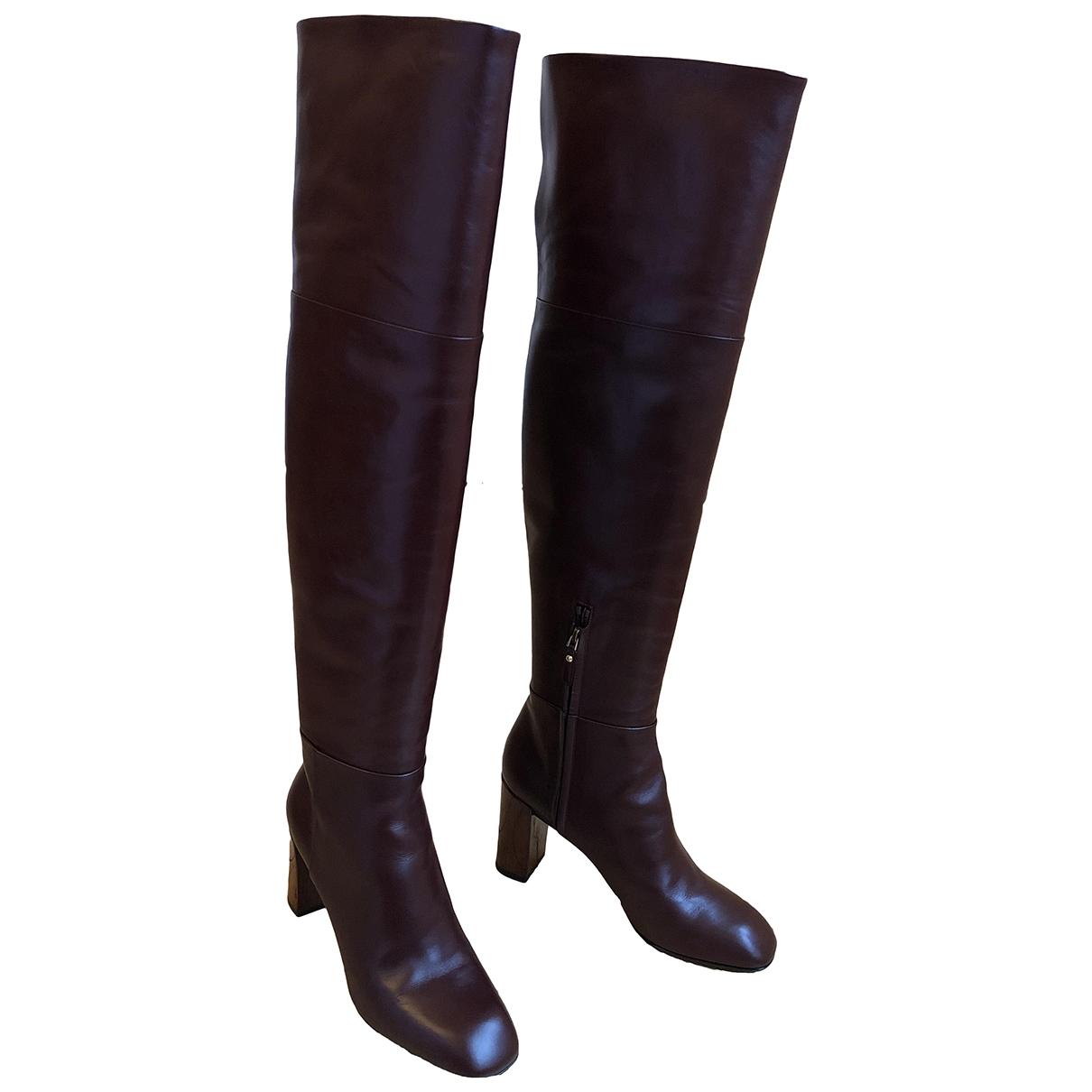 Louis Vuitton - Bottes   pour femme en cuir - bordeaux