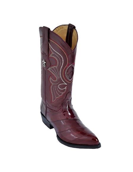 Mens Burgundy King Eel Skin J-Toe Los Altos Boot Sandle Vamp