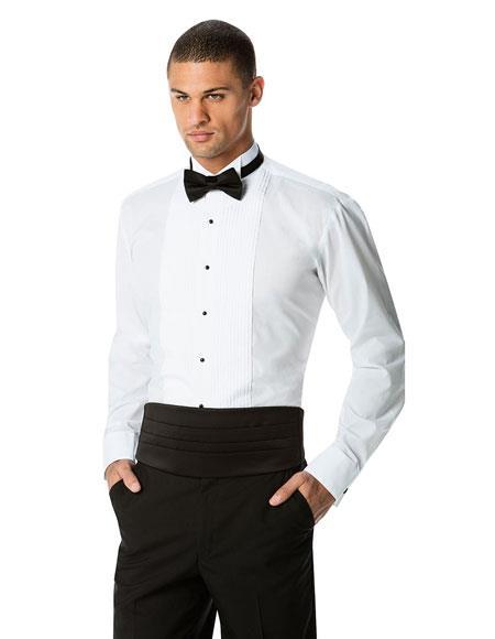 Men's White Pleated White Tuxedo Shirt Black Cummerband Bowtie