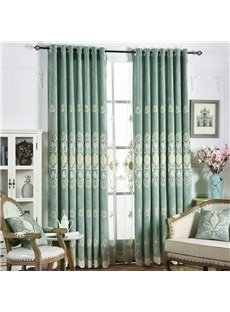 Modern Decor High Quality Chenille Embroidery Thick Blackout Custom Grommet Curtains for Living Room Bedroom