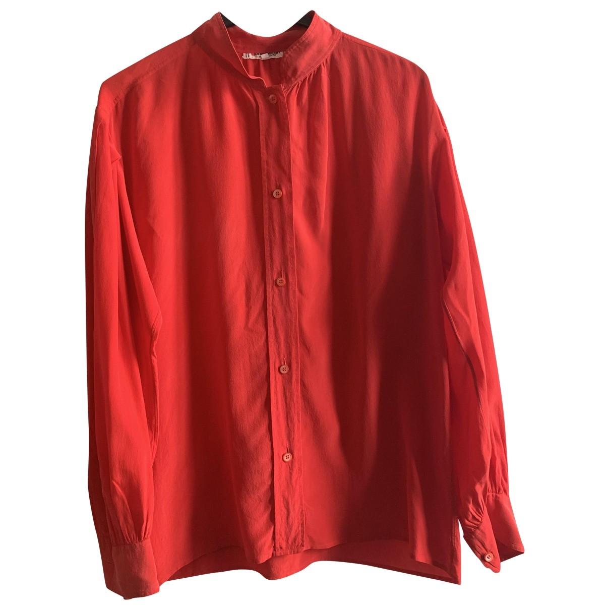 Yves Saint Laurent - Top   pour femme en soie - rouge
