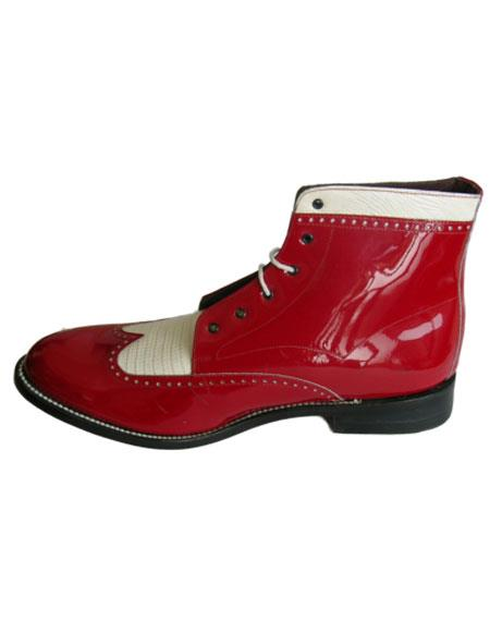 Leather Cap Toe Red ~ White Mens Red And White Dress Shoes
