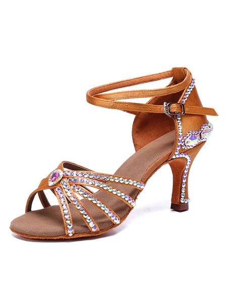 Milanoo Zapatos de baile latino Zapatos de saten de saten con punta abierta y diamantes de imitacion con punta abierta