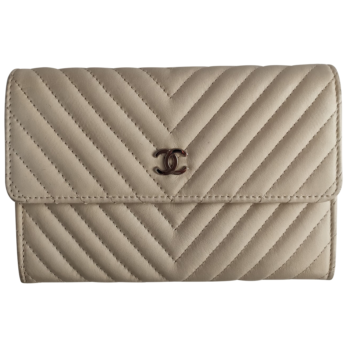 Chanel Timeless/Classique Portemonnaie in  Ecru Leder
