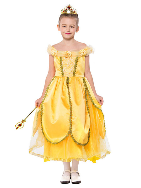 Milanoo Halloween Cosplay Costumes For Kids Yellow Fairytale Dresses For Child