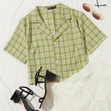 Camisa corta de tartan de cuello V