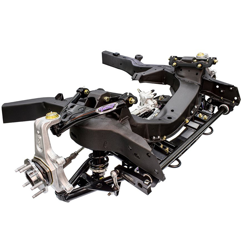 Detroit Speed 032073-S C2/C3 Speedray Front Suspension with Bolt-In Upper C/O Mounts Single Adjustable Shocks 650 lb/in spring