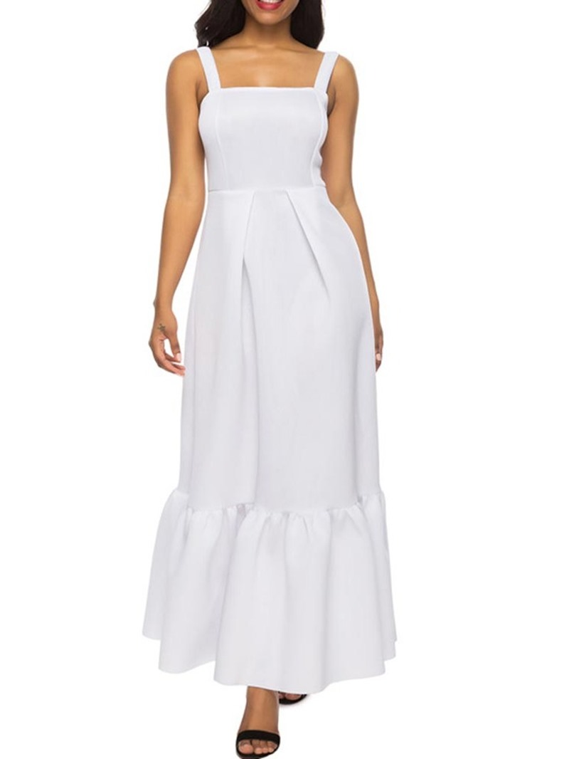 Ericdress Sleeveless A-Line Ankle-Length Pleated Plain A-Line Dress